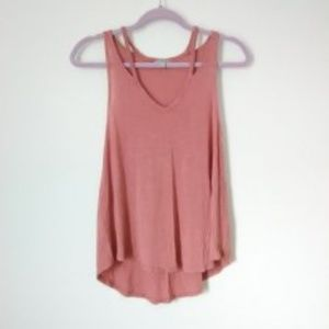 Charlotte Russe Pink Strappy V-Neck Tank Top
